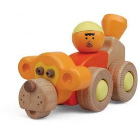 Dřevěné hračky - Hravá stavebnice Moje ZOO - Opičí auto
