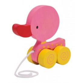Dřevěné hračky - Tahací hračka na provázku - růžové kačátko