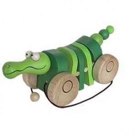 Dřevěné tahací hračky - Klapací krokodýl