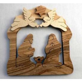 Dřevěné dekorace - Svícen betlém s anděly