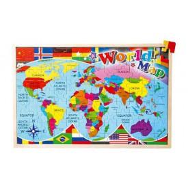 Dřevěné hračky - Vkládací puzzle - Puzzle Mapa světa