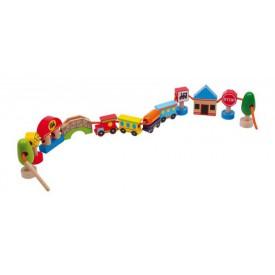 Dřevěná hračka - provlékání  - Navlékání město
