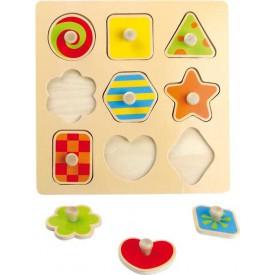 Dřevěná hračka - Dřevěné puzzle barevné tvary