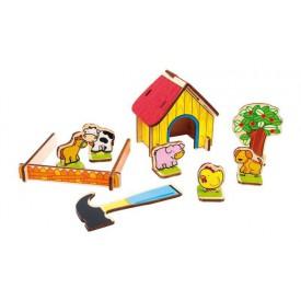 Dřevěné hračky - Dřevěná farma 3D puzzle