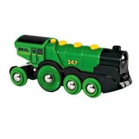 Mohutná elektrická zelená lokomotiva se světly