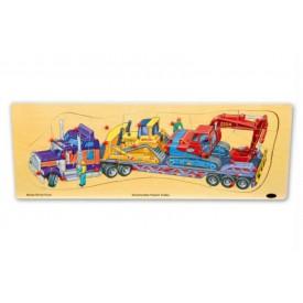 Dřevěné hračky -  Vkládací puzzle tahač