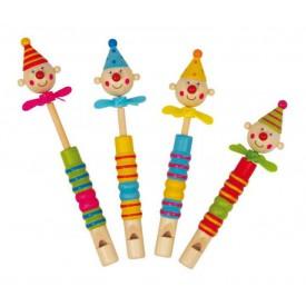 Dětská dřevěná píšťalka s klaunem a vrtulkou
