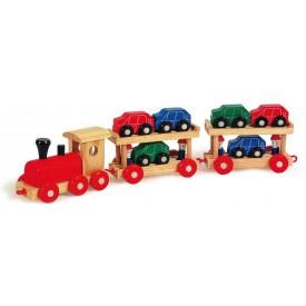 Dřevěné hračky - Dřevěný vláček s auty poschoďový