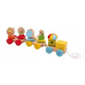 Dřevěné hračky - Tahací vlak cirkusový průvod