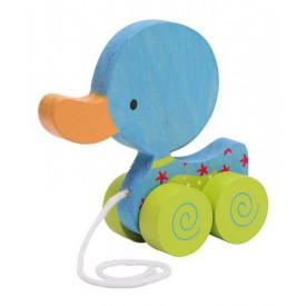 Dřevěné hračky - Tahací hračka na provázku - modré kačátko