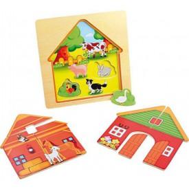 Dřevěná hračka - Vrstvené puzzle Stodola