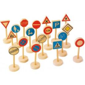 Dřevěné hračky - Dřevěné dětské dopravní značky velké 18ks