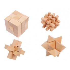 Dřevěné hry - Dřevěné hlavolamy set 4ks