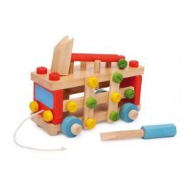Dřevěné barevné auto - Montážní auto