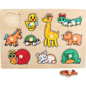Dřevěné hračky - Vkládací puzle zvířátka
