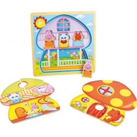 Dřevěná hračka - Vrstvené puzzle Houba