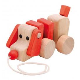 Dřevěné hračky - Dřevěný tahací pejsek