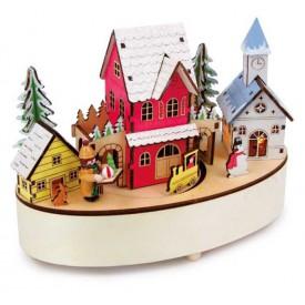 Vánoční dekorace - Hrací hodiny a lampa Zimní čas