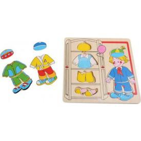 Dřevěné hračky - Puzzle Chlapec se obléká