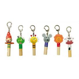 Dřevěné přívěšky na klíče - Píšťalka - Zvířátka