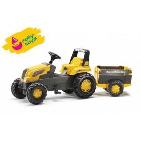 RollyToys Šlapací traktor Rolly Junior s Farm vlečkou žlutý