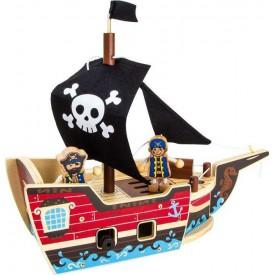 Dřevěné hračky - Stavebnice Pirátská loď