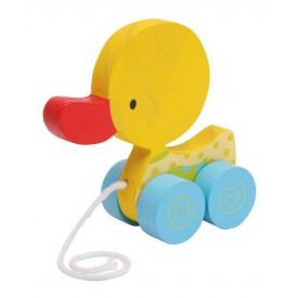 Dřevěné hračky - Tahací hračka na provázku - žluté kačátko