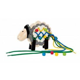 HAPE dřevěné hračky - dřevěný provlékací a šněrovací ovečka