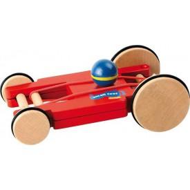 Dřevěné natahovací závodní auto