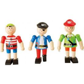 Flexibilní dřevěné figurky Piráti