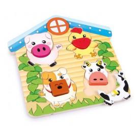 Dřevěné hračky -  Třídící puzzle Zvířata