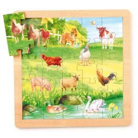 Dřevěné hračky -  Puzzle Zvířata, sada 4 ks