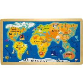 Vkládací puzzle - jednoduchá velká mapa světa