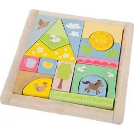 Dřevěné hračky - vkládací puzzle Farma