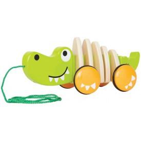 HAPE dřevěné hračky - dřevěný tahací krokodýl