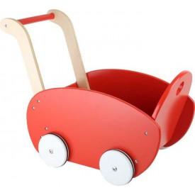 Dřevěný kočárek pro panenky červený 10025