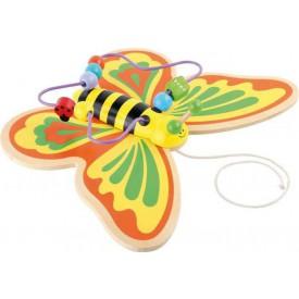 Motorické hračky - Motorický labyrint tahací motýl