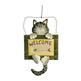 Keramická dekorace - Dekorativní vývěska Welcome - kočka