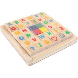 Dřevěné výtvarné hračky - Set razítek Abeceda