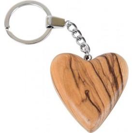 Dřevěný přívěšek na klíče Srdce