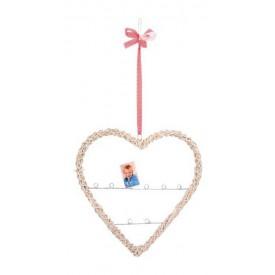 Bytové dekorace - Proutěné srdce s držákem na fotografie