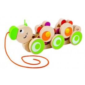 HAPE dřevěné hračky - dřevěná tahací  housenka