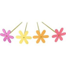 Dětské dřevěné dekorace - Květinová zahrada - zápich 4ks