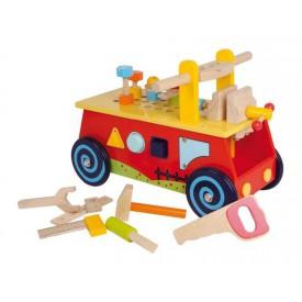 Dřevěné hračky - Motorický vozík Pracovní stůl-SLEVA
