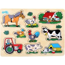Dřevěné hračky - Vkládací skládanka Farma