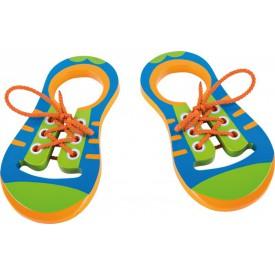 Dřevěná hračka - Hra Zavaž si tkaničku - Pár bot