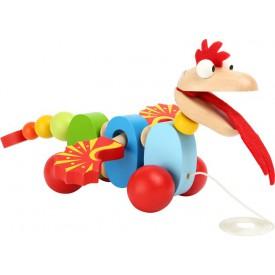 Dřevěné hračky - Dřevěný Tahací drak barevný