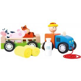 Dřevěný tahací set - Farmář s traktorem a zvířátky