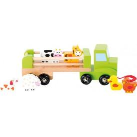 Dřevěné tahací nákladní auto se zvířátky
