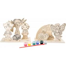 Dřevěný barevný 3D obrázek - Piráti a víly